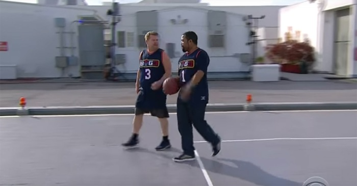 James Corden says he took Ice Cube to school in basketball, and he has video footage to prove it