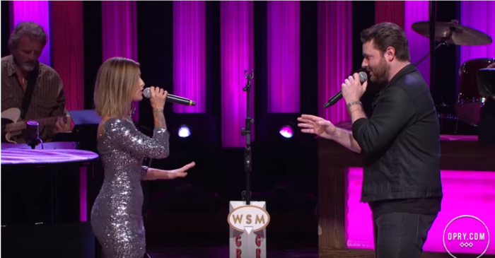 Musical sparks fly between Chris Young and Cassadee Pope on the Grand Ole Opry stage
