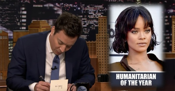 "Jimmy Fallon is grateful for award-winning humanitarian Rihanna on ""Thank You Notes"""