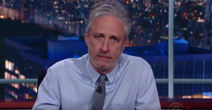 "Jon Stewart stops by the ""Late Show"" and delivers this message to the media"