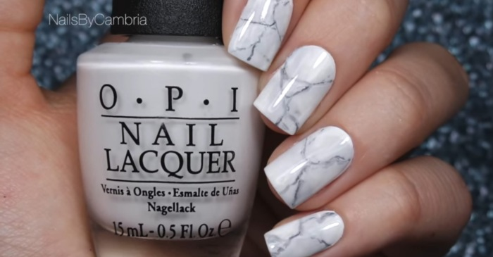 Impress your friends with this trendy marble manicure