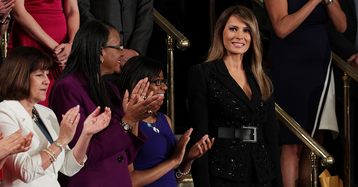 Melania Trump wore a beautiful sequin skirt suit to Trump's congressional speech