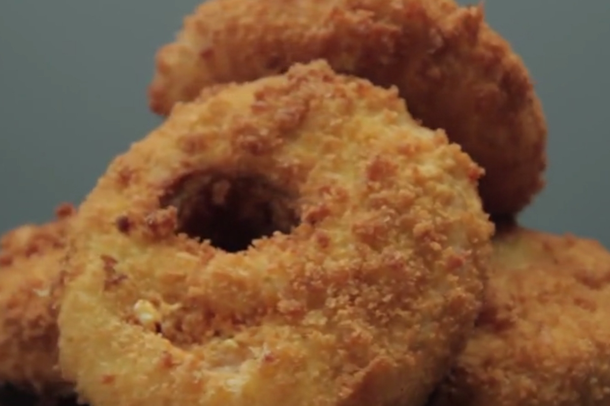 Believe it or not, these massive onion rings are stuffed with delicious buffalo chicken