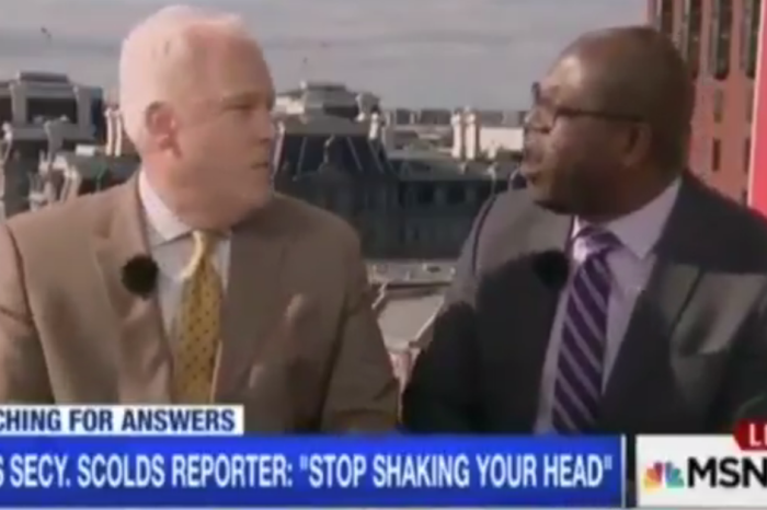 Two grown men shout in each others' faces arguing about Sean Spicer's exchange with April Ryan