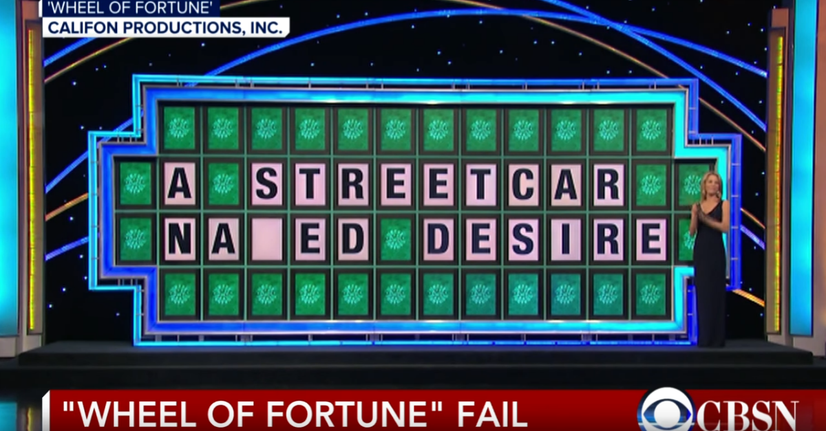"Flashback to this ""Wheel of Fortune"" Fail Featuring Contestant's Answer as ""A Streetcar Naked Desire"""
