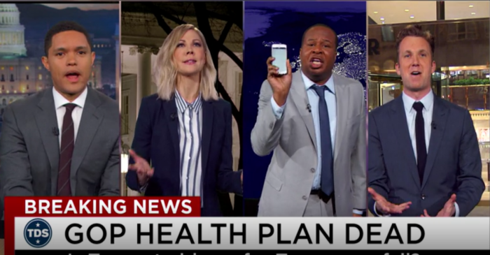 """""""The Daily Show"""" correspondents are blaming that blasted Geico gecko for Trumpcare's failure"""