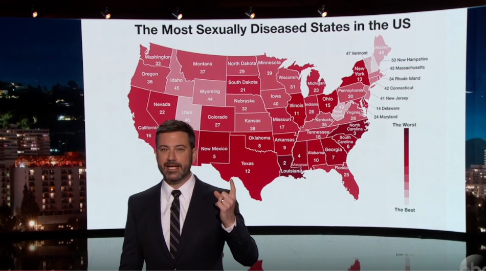 Jimmy Kimmel unveils an STD map and you might be surprised by the results