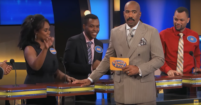 """Absurdity and hilarity ensue when Steve Harvey asks, """"If your package had a shipping label, what would it say?"""""""