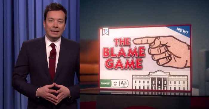 "Jimmy Fallon poked fun at Trump's approval ratings with a hilarious new board game — ""The Blame Game"""