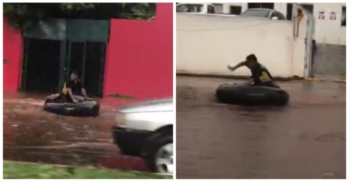 When the streets flooded, this guy decided to make a day of it