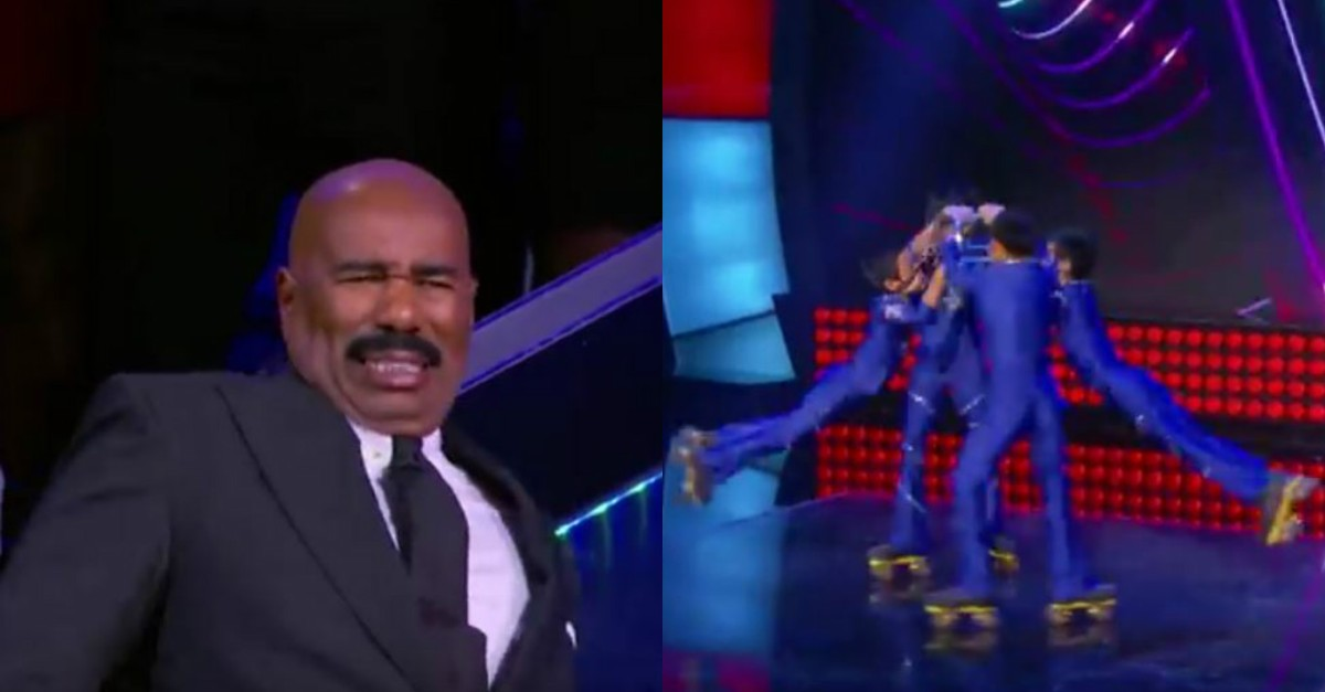 Steve Harvey looked a little nervous as he watched these kids perform death-defying stunts on roller skates