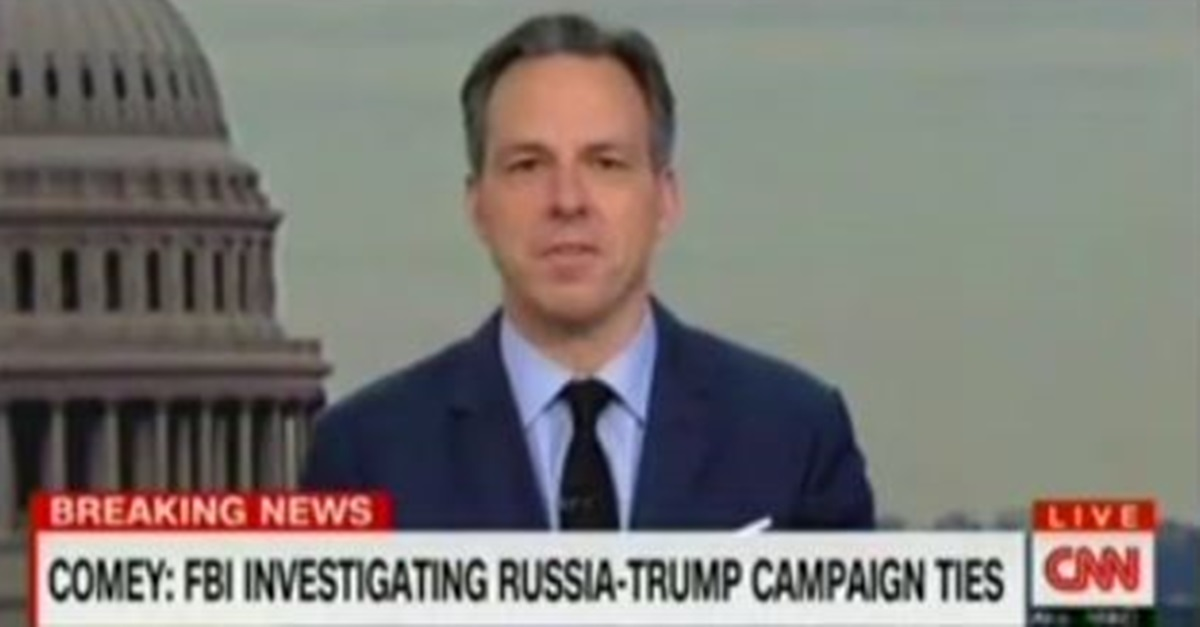 Jake Tapper calls out Fox News for downplaying FBI director's bombshell information about Russia and Trump campaign