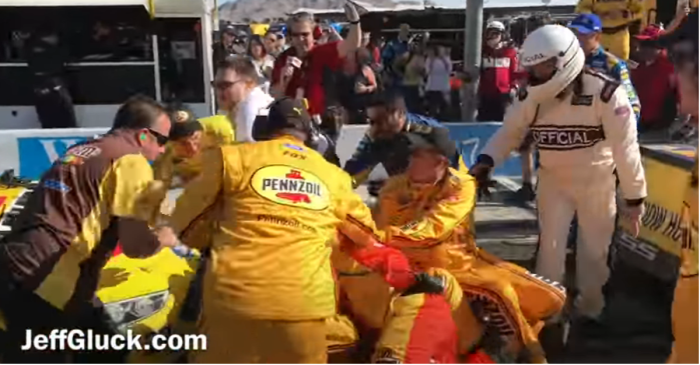 Dale Earnhardt Jr. reacts to the NASCAR brawl fans can't stop watching