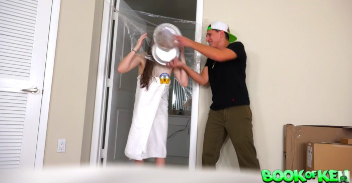 As his unsuspecting girlfriend was singing in the shower, he was preparing to prank her four times over