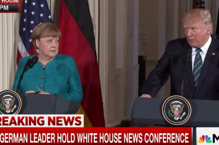 There were audible gasps and laughs when President Trump brought up the United States' history with Angela Merkel