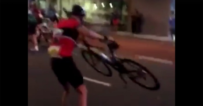 This blooper reel of a cycling race in a windstorm is comedy gold