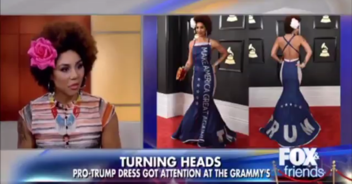 "Artist Joy Villa's life has changed since wearing a ""Make America Great Again"" dress to the Grammys"