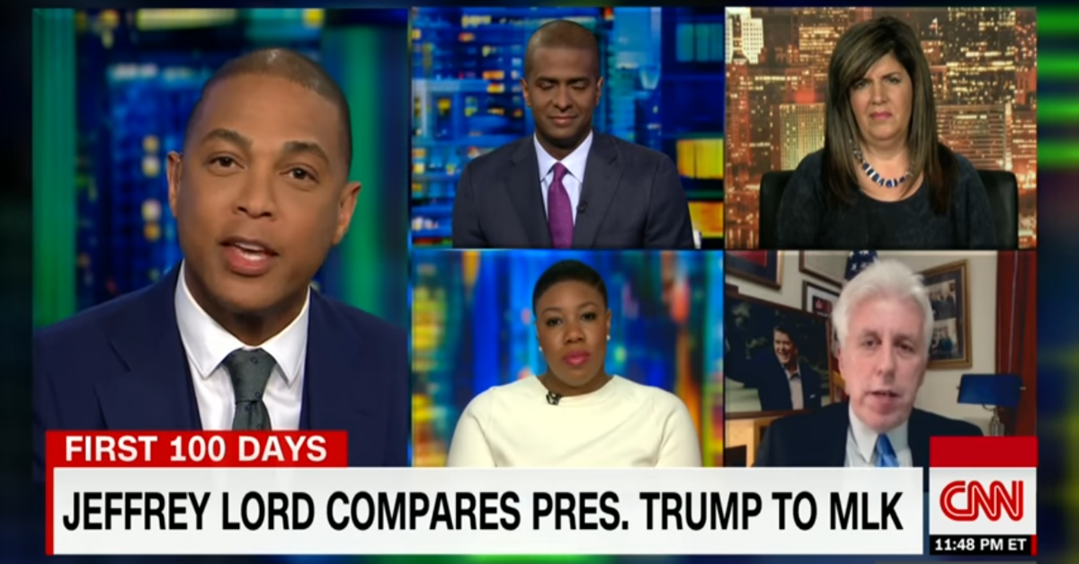 All went awry when Don Lemon confronted Jeffrey Lord for saying President Trump was the MLK of healthcare