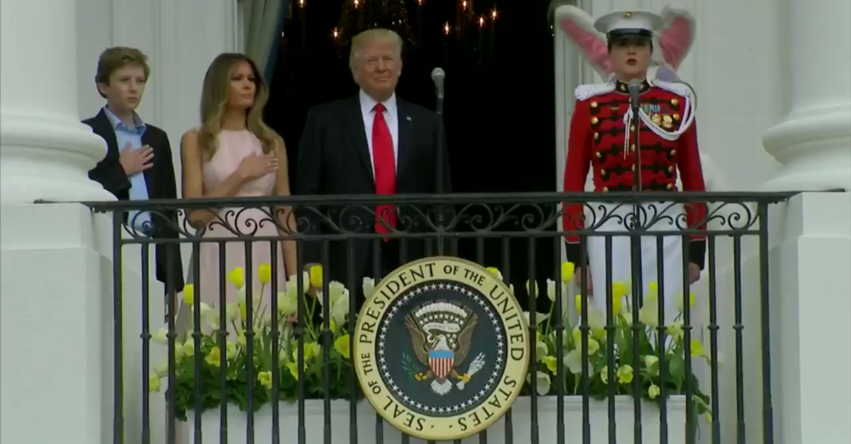 Melania Trump had to give President Trump a reminder during the White House Easter Egg Roll