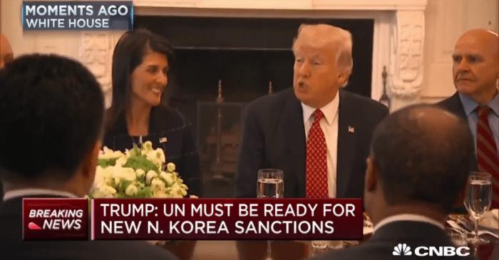 President Trump chooses an odd moment to joke about firing U.N. Ambassador Nikki Haley