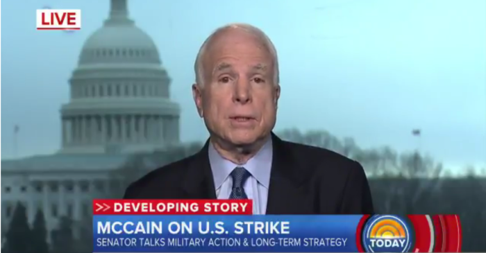 Donald Trump's airstrike earns the support of one of his biggest critics, John McCain