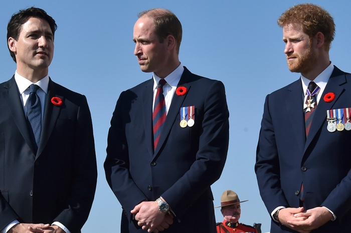 Prince William and Prince Harry joined Canadian Prime Minister Justin Trudeau to pay tribute to fallen soldiers