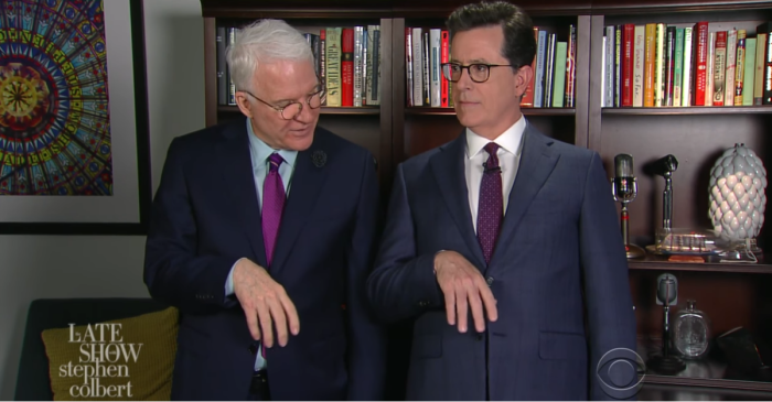 The incomparable Steve Martin does his best to teach Stephen Colbert to be funny