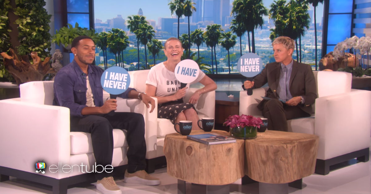 """Ellen, Chelsea, and Ludacris discuss Mile High Club memberships while playing """"Never Have I Ever"""""""
