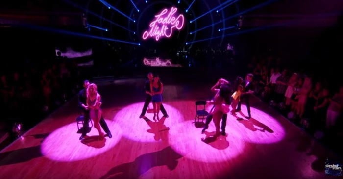 "The ladies of ""DWTS"" brought the heat to the ballroom with this group dance on Boy Bands vs. Girl Groups night"