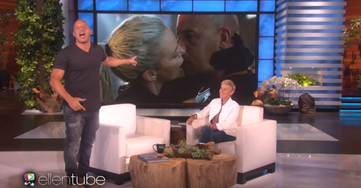 "Vin Diesel totally lost it when Ellen DeGeneres told him Charlize Theron said he kisses like ""a dead fish"""