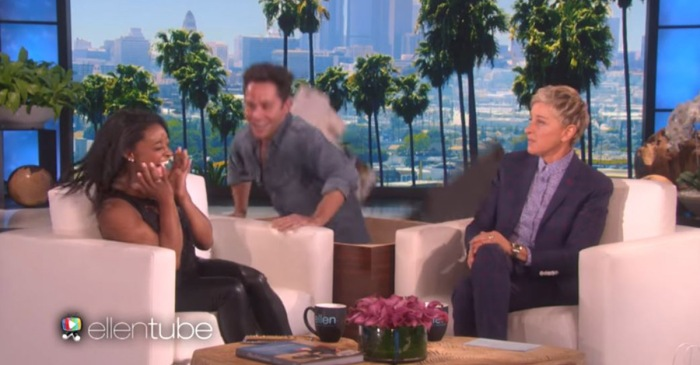 "Ellen DeGeneres enlisted the help of ""DWTS"" pro Sasha Farber to scare the bejeezus out of Simone Biles"