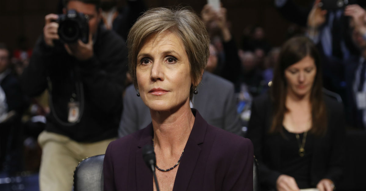Former acting Attorney General Sally Yates reminded Congress of a promise she made that led her to block President Trump's travel ban