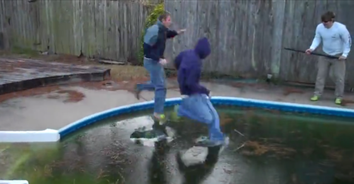 In a move of ice-cold genius, these wise guys decided to run across their frozen pool