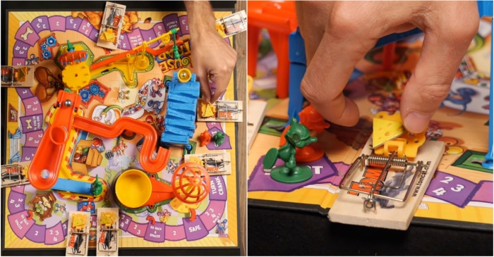 "Unsurprisingly, playing ""Mousetrap"" with real mousetraps is fun to watch, but painful to play"