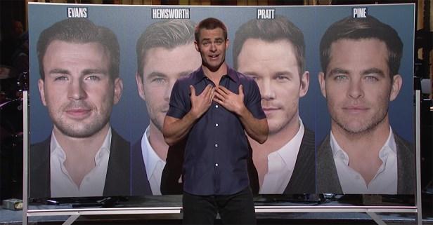 """SNL"" host Chris Pine plays ""Know Your Chris: Evans, Hemsworth, Pratt, Pine"""