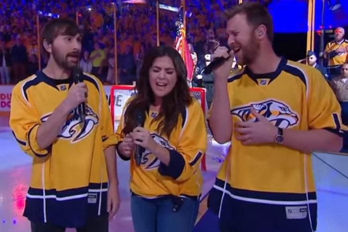 Lady Antebellum revs up a packed house with this spectacular national anthem performance