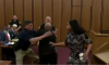 man lunges at sister's killer