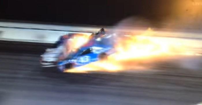NASCAR driver hospitalized following fiery three-vehicle crash