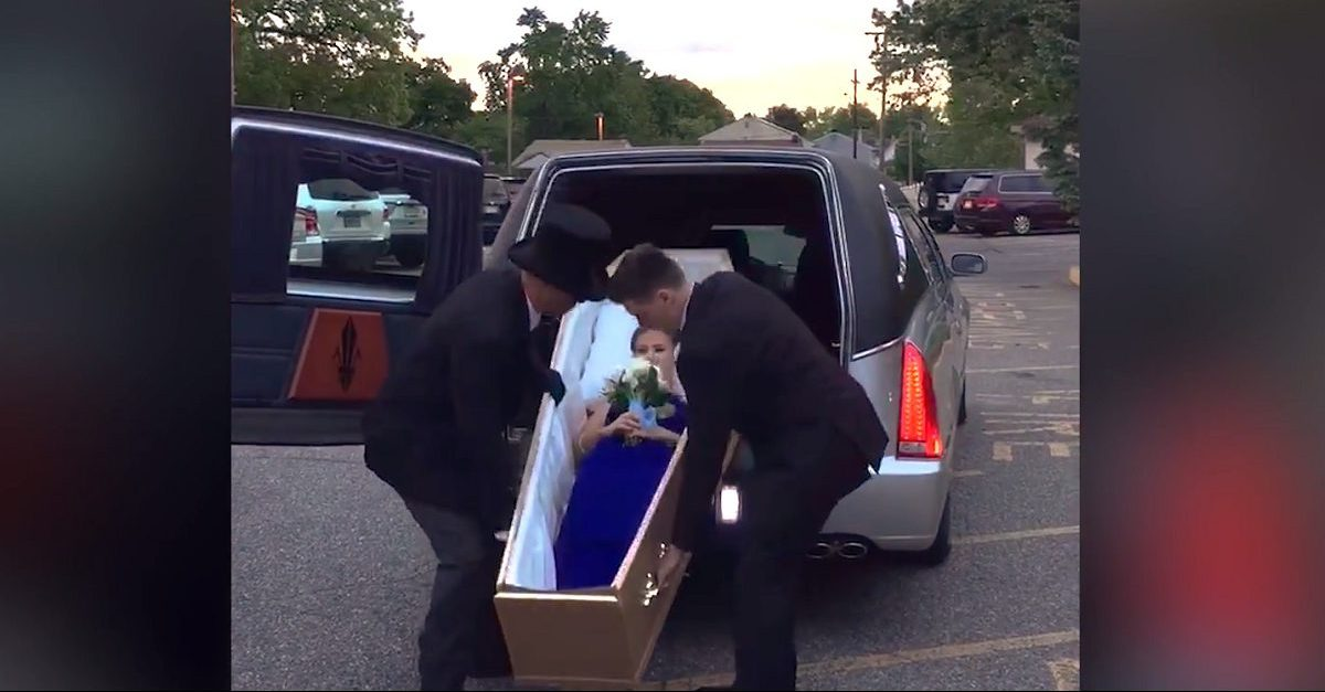 New Jersey teen stages ghoulish prom entrance