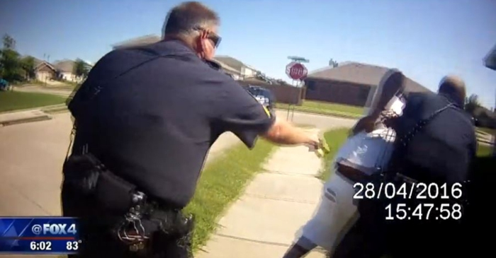 Leaked body cam footage shows a police officer using a Taser on an already-handcuffed man