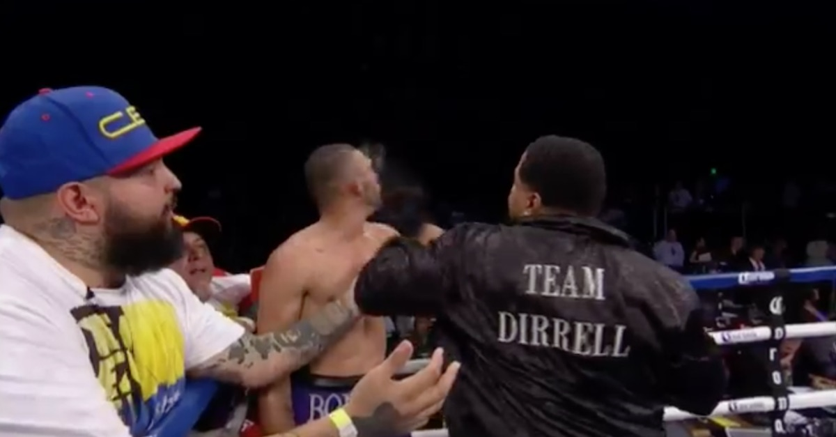 A boxer's uncle reacted to a cheap shot with one of his own, and it was a direct hit