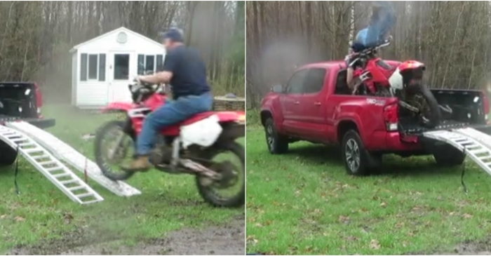 Motorcycle owner's last ditch attempt to load his two-wheeled pride and joy into a truck ends in disaster