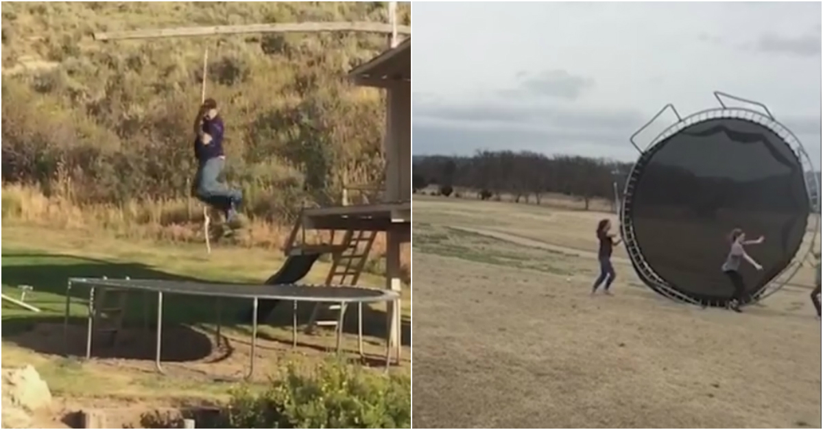 More proof only idiots jump off a roof onto a trampoline