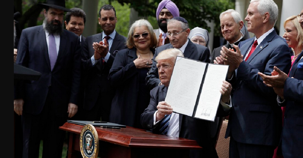 """President Trump's """"religious liberty"""" executive order doesn't really do anything for religious liberty"""
