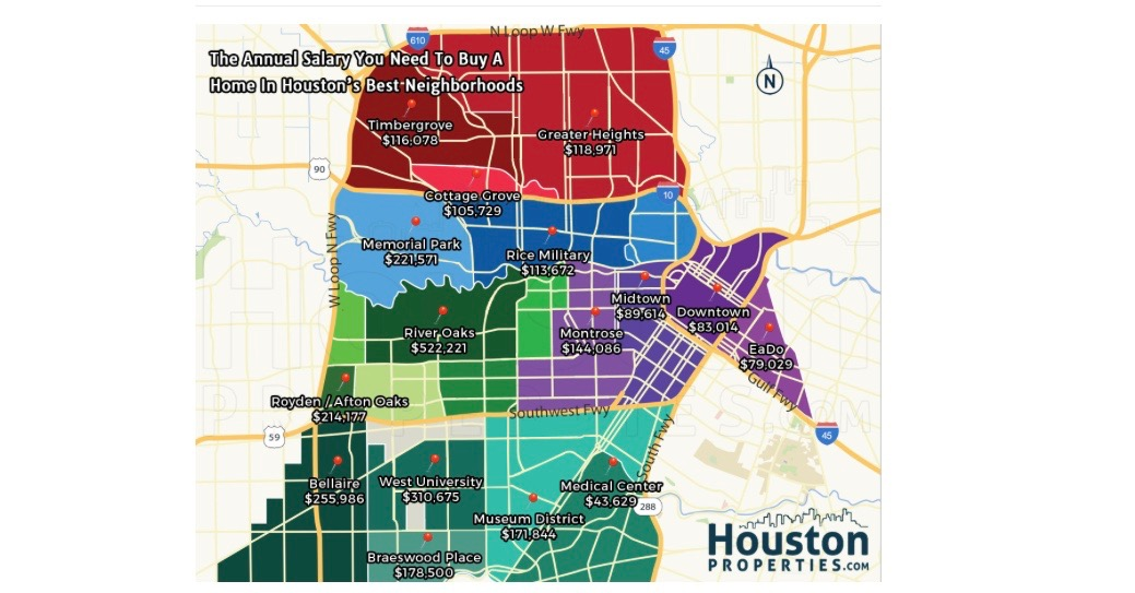 Here's how much money you'll need to live in Houston's best neighborhoods