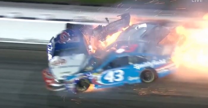 After a fiery crash, an injured NASCAR driver's family speaks out about his health