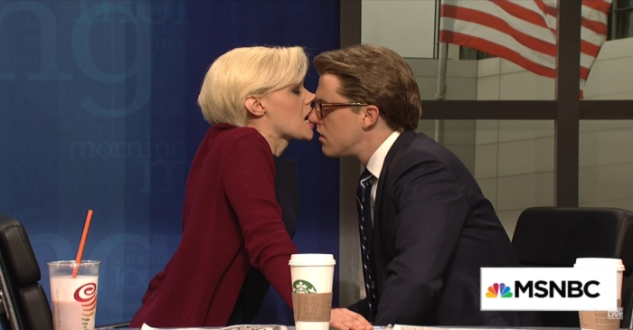 "Things got a bit steamy when ""SNL"" mocked the awkward romance between Joe Scarborough and Mika Brzezinski"
