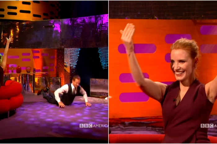 Michael Fassbender tried to teach Jessica Chastain how to break dance but ended up doing the worm all by himself
