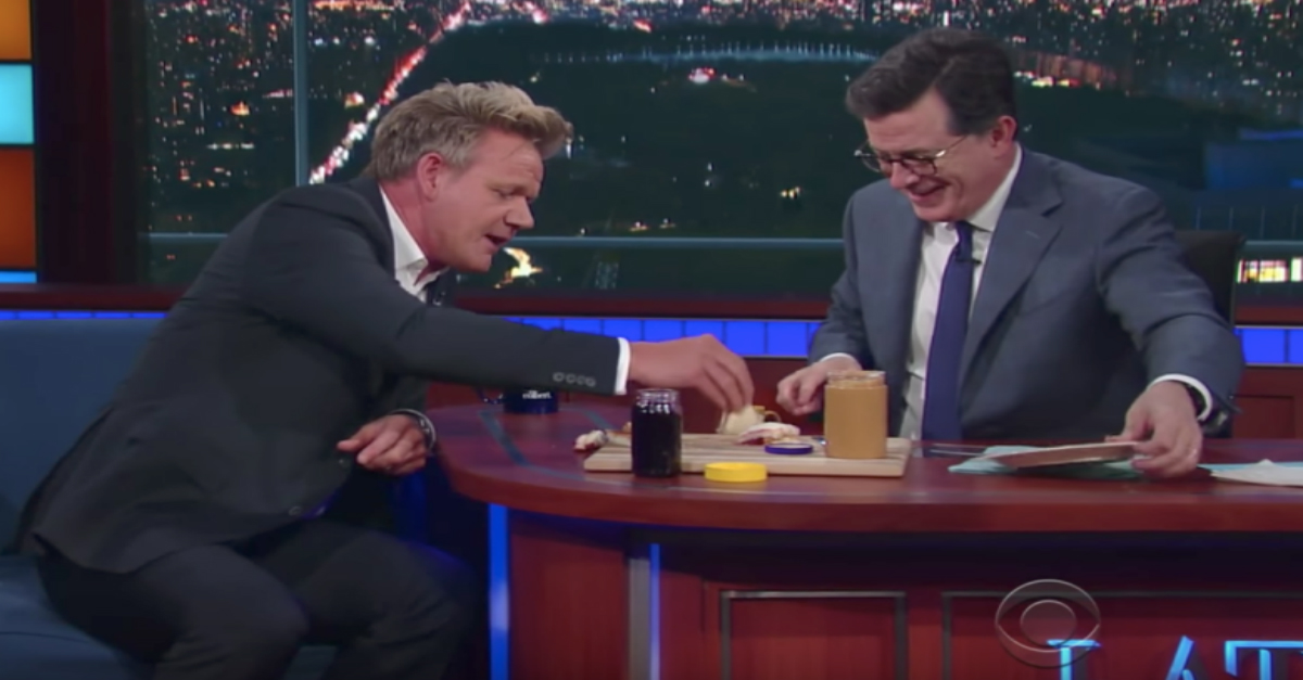 Gordon Ramsay was disgusted with the PB&J sandwich Stephen Colbert made for him — and Colbert couldn't have been prouder
