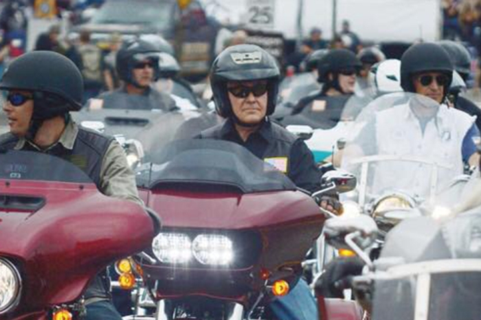 Secretary of State Rex Tillerson rode his motorcycle with Rolling Thunder to honor U.S. military